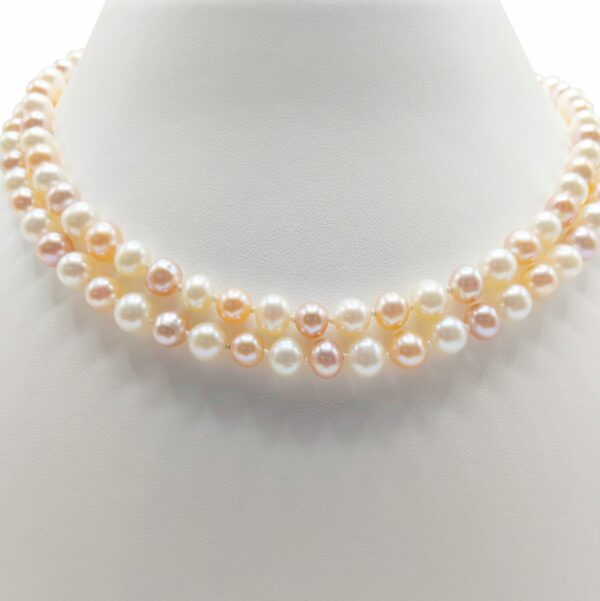 36-inch vintage double strand natural pearl necklace