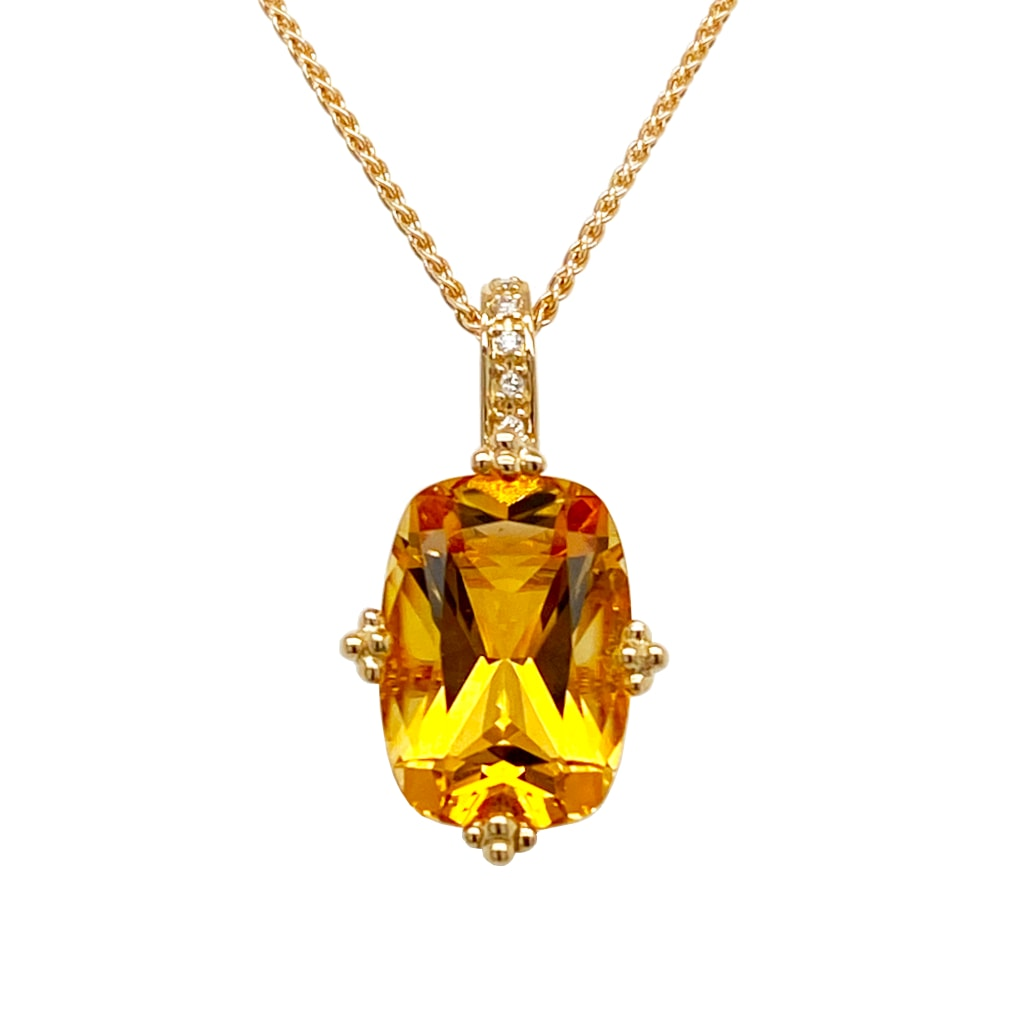 citrine stone pendant necklace