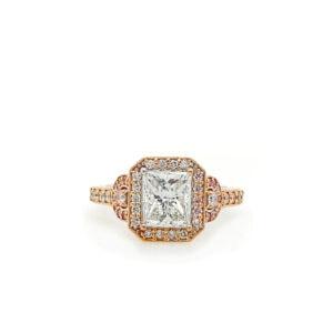 rose gold princess cut halo engagement rings