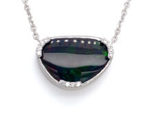 black opal and diamond necklace