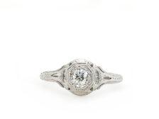 Classy ladies white gold ring
