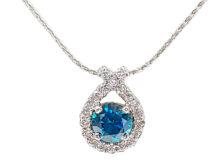 Blue Diamond & Silver Pendant Necklace